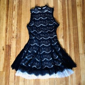 Francesca's Black Lace and Tulle Sleeveless Dress